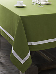 Green / Red Linen Rectangular Table Cloths