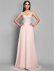 Sheath/Column Sweetheart Sweep/Brush Train Chiffon and Lace Evening/Prom Dress(605454)