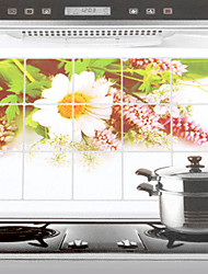 75x45cm Wild Chrysanthemum Pattern Oil-Proof Water-Proof Kitchen Wall Sticker
