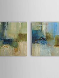 Peint à la main peinture à l'huile abstraite vert et bleu avec cadre étiré Lot de 2 1308-AB0730
