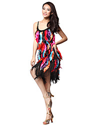 Performance Dancewear Polyester With Tassels Latin Dance Dress for Ladies