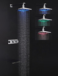 Contemporary Tub And Shower LED / Waterfall / Rain Shower with  Ceramic Valve Three Handles Three Holes for  Chrome , Shower Faucet