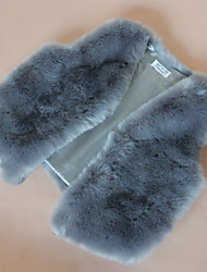 Fur Vest With Thick Sleeveless Collarless In Faux Fur Party/Casual Vest(More Colors)