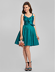 Knee-length Taffeta Bridesmaid Dress - Jade Plus Sizes A-line/Princess Spaghetti Straps