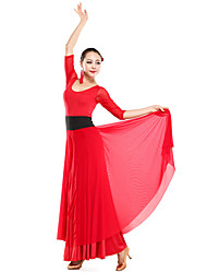 Ballroom Dancewear Viscose With Tulle Modern Dance Dress For Ladies(More Colors)