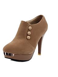 Bom gosto couro salto agulha ankle boots com o botão Shoes partido (mais cores)