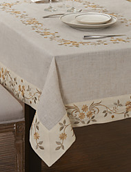 Beige Polyester Rectangular Table Cloths