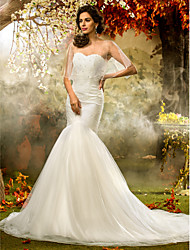 Lan Ting Fit & Flare Plus Sizes Wedding Dress - Ivory Court Train Sweetheart Tulle