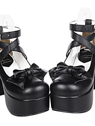 Lolita Shoes Gothic Lolita Handmade High Heel Shoes Bowknot 9.5 CM For PU Leather/Polyurethane Leather