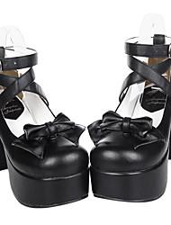 Zapatos Gosurori Hecho a Mano Tacón alto Zapatos Lazo 9.5 CM Negro Para Mujer Cuero Sintético/Cuero de Poliuretano