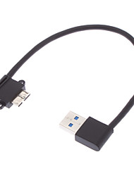 USB 3.0 Macho para Mini USB 3.0 de 90 graus to Black Esquerda (0,2 M)