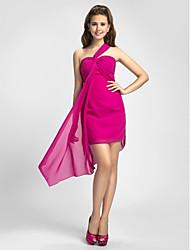 Asymmetrical Chiffon Bridesmaid Dress - Fuchsia Plus Sizes Sheath/Column Straps