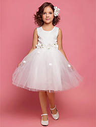 A-line / Ball Gown / Princess Knee-length Flower Girl Dress - Lace / Organza / Satin Sleeveless Scoop with Bow(s) / Draping / Flower(s)