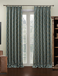 Barroco Two Panels Plaid/Check Blue Living Room Poly  Cotton Blend Blackout Curtains Drapes