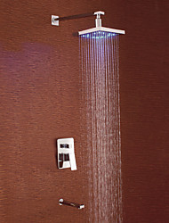 Contemporary Chrome Finish LED Wall Mount Shower Faucet with Square Showerhead