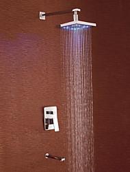 Shower Faucet Contemporary LED / Rain Shower Brass Chrome