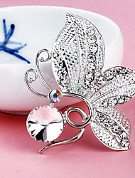 Women's  Butterfly Silver Plated Rhinestone Ball Brooch