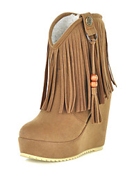 Zapatos de mujer - Tacón Cuña - Botas a la Moda - Botas - Casual - Ante - Negro / Marrón