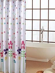 Estrellas y flores patrón grueso de poliéster impermeable cortina de la ducha