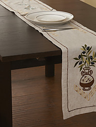 Classic Green Linen Floral Table Runners