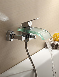 Contemporary Tub And Shower Waterfall with  Ceramic Valve Single Handle Two Holes for  Chrome , Shower Faucet / Bathtub Faucet