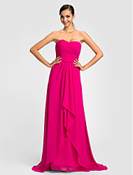 Sweep / Brush Train Chiffon Bridesmaid Dress - Sheath / Column Sweetheart Plus Size / Petite with Sash / Ribbon / Criss Cross / Ruching