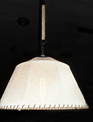 North American-Style Retro 1 Light Pendant In Fabric Shade