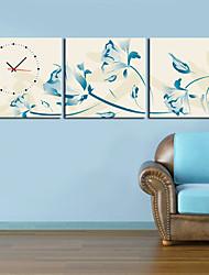 "12 ""-24"" fiori blu orologio da parete ispirazione in 3pcs su tela"