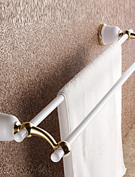 Pastoral White Painting Bathroom Double Bars Towel Rack