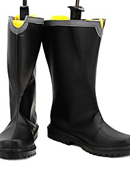 Japanese Samurai Black PU Leather Flat Men's Boots