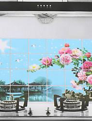 90x60cm Пейзаж шаблона Нефть-Proof Водонепроницаемый Стикер стены кухни