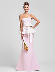Military Ball/Formal Evening/Wedding Party Dress - Blushing Pink Trumpet/Mermaid Sweetheart Sweep/Brush Train Satin/Lace