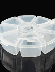 8-grid Round Clear Plastic Nail Art Tip Storage Box Case Tool (11*11*3.5)