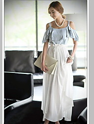 Women's Color Block Multi-color Dress , Casual/Maxi Strap Short Sleeve Pleated/Bow