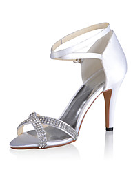 Bridal Satin Stiletto Sandals with Rhinestones Wedding/Special Occasion Shoes(More Colors)