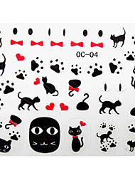 3PCS Cute Cat Cartoon Nail Art Stickers OC Sery No.2(Assorted Pattern)