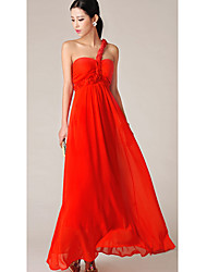 Women's Party / Maxi Solid Swing Dress , One Shoulder Maxi Chiffon