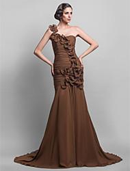 Formal Evening Dress - Brown Plus Sizes / Petite Trumpet/Mermaid One Shoulder Sweep/Brush Train Chiffon