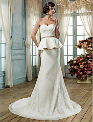 Lan Ting Trumpet/Mermaid Plus Sizes Wedding Dress - Ivory Court Train Sweetheart Lace
