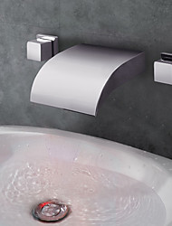 Contemporary Arcuate Spout Waterfall 3 Colors LED Bathroom Sink Faucet