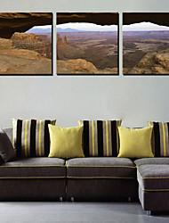 Reproduction transférée sur toile Art Paysage de montagne Sight Set de 3