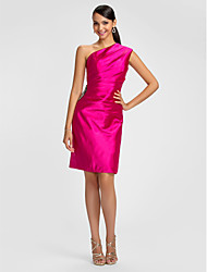 Dress - Fuchsia Sheath/Column One Shoulder Knee-length Stretch Satin