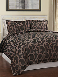 3-Piece Modern Style Coffee Jacquard Duvet Cover Defina Floral