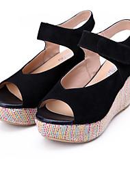 DUMOO Frauen Lackleder Keilabsatz Peep Toe Sandalen