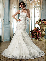 Lanting  Trumpet/Mermaid One Shoulder Lace Wedding Dress