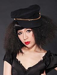 Capless Medium Curly Black Hair Wig Full Bang