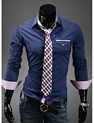 Темно-синий RR Покупать мужские Slim Fit случайные Контрастность Цвет Проверить Сращивание с длинным рукавом