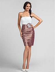 Bridesmaid Dress Knee Length Taffeta Sheath Column Strapless Dress