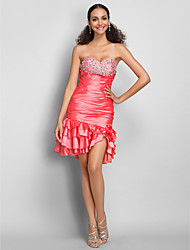 TS Couture® Dress - Watermelon Plus Sizes / Petite Sheath/Column Sweetheart Short/Mini Taffeta