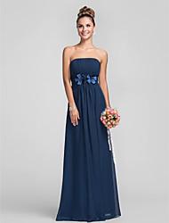 Floor-length Chiffon Bridesmaid Dress - Dark Navy Plus Sizes Sheath/Column Strapless